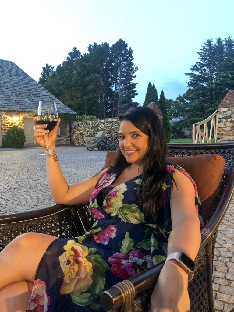Wine in the courtyard at the Graylyn Estate