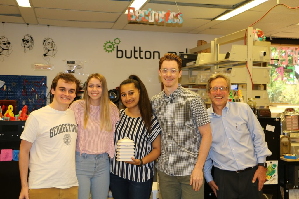 Team members involved with creating the air pollution monitors at Georgetown University. (From left to right) Michael Bartholic, Anna Giaquinto, Simra Ali, Colton Padden, and Pascal Girard